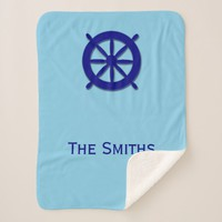 Custom Family Name Nautical Blue Sherpa Blanket