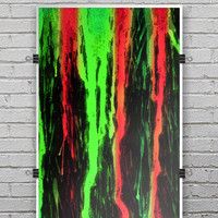 Running Neon Green and Coral WaterColor Paint - Ultra Rich Poster Print