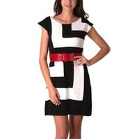 Jessie G. Women's Black and White Contrast Print Dress - Medium