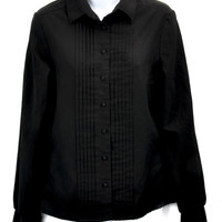 Rare Donnkenny  Black Pleated Button Down Shirt Top Size 12