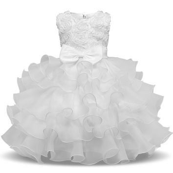 First Holy Communion Princess Dresses for Baby Flower Girls Clothes Prom Evening Graduation Gowns Children Kids Girl Tutu Dress