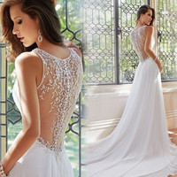 Women Fashion Sexy Chiffon Backless Deep V Collar Princess Bride Wedding Dress = 1929945028