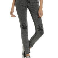 Blackheart Grey Skull Knee Skinny Jeans