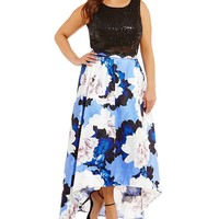 Jodi Kristopher Plus Floral Print Two-Piece High-Low Dress | Dillards
