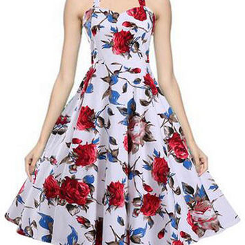 White Audrey Hepburn Style 50s Halter Vintage Dress Flowers Printed Inspired Midi Swing Dress