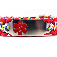 Personalized Thin Kids Medical Alert ID Paracord Bracelet w/ Stainless Steel Engraved ID Tag - Red Medical Symbol
