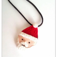 Santa Charm Necklace, Santa Jewelry, Perfect Gift, Stocking Stuffer, Christmas Gifts, Festive Jewelry, Polymer Clay Jewelry, Christmas Sale