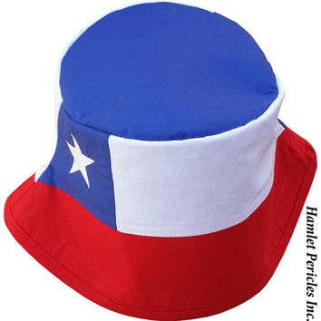 Chile Flag Unisex Bucket Hat | Chilean Flag | Chile Flag | Embroidered Hat | Country Flag Hat | Red White Blue Hat by Hamlet Pericles