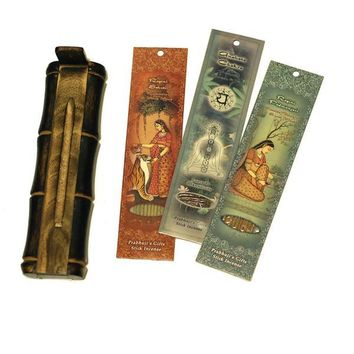 Incense Gift Set - Bamboo Burner + 3 Harmony Incense Packs for Romance & Love Greeting - Lost in Love