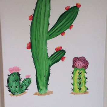 OOAK CACTUS SUCCULENT  original acrylic painting on 18-Inch-by-24-Inch Stretched Canvas unframed