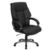 High Back Swivel Black Leather Executive Office Chair - Wing Designed Back