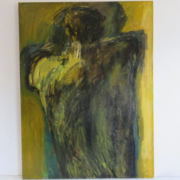 Signed Large Mid-Century Modern Abstract Oil Painting On Canvas, By Gabriele Roos 1960's.