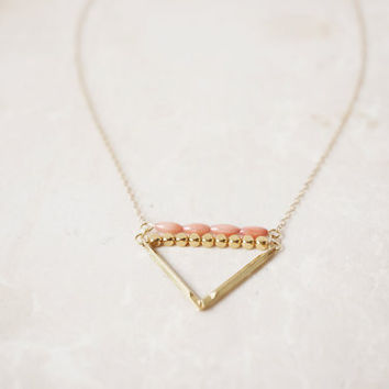 Coral & Brass Triangle - 14k Gold Filled Chain