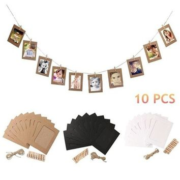 10 pcs paper frame with clips wall photo frame diy hanging picture album home decoration Speedup