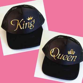 King and Queen Trucker Hats. Set of Wedding Caps.  Anniversary Gift. Wedding Gift. Mr and Mrs. Matching Hats. Snapback Cap. Photo Prop.