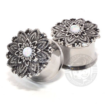 Feather Lotus with Opal Center Double Flared Steel Plugs