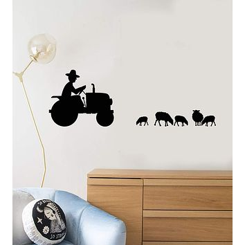 Vinyl Wall Decal Farmer Tractor Animals Sheeps Farm Kids Room Stickers Mural Unique Gift (ig5107)