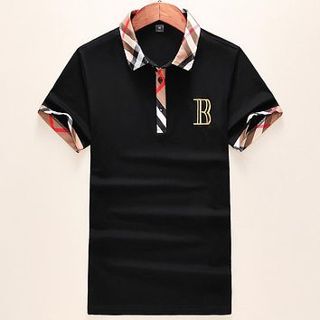 Burberry 2019 new men's lapel POLO shirt embroidered letters half-sleeved shirt Black