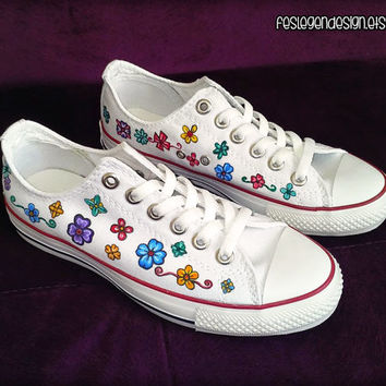 Flowers Custom Converse / Colorful Painted Shoes / Low Tops
