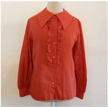 Vintage 60s Orange Fall Ruffle Bust Womens Zooey Deschanel Halloween Top L