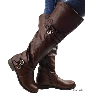 Women's Riding Boots Knee High Flat Buckle Faux Leather Boot Brown or Black New