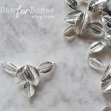 High-shine Silver 5 Leaves Connector Detailed Leaf Pendant Jewelry Supplies ∙ 1pc