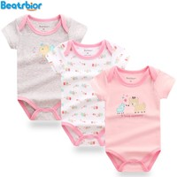 2017 Retail Baby Girl Bodysuit Newborn Baby Clothes Cartoon Prited Short Sleeve Cotton Baby Bodysuits Body Bebes Clothing