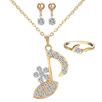 Gold Rhinestone Music Note Necklace Ring and Earrings