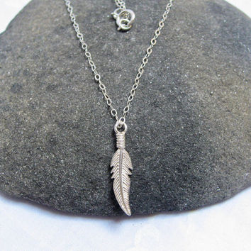 Feather Necklace, 925 Sterling Silver, Feather Pendant, Minimal Necklace, Dainty Thin Chain, Delicate Jewelry, Leaf Layering Necklace