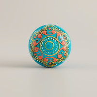 Turquoise Painted Wooden Knobs, Set of 2 - World Market