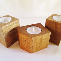 Wood Candle Holder Set of 3, Candle Holder, Rustic Candle Holder, Candle Display, Block Candle Holders, CIJ, Christmasinjuly