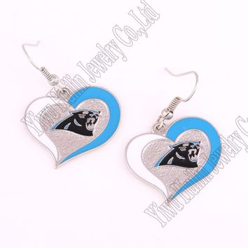 Carolina Panthers  Sports Team Logo Swirl Heart Shape French Hook Style Charm Dangle Earring Set