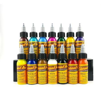 30ml Tattoo Ink 14Colors Pigment Eyebrow Eyeliner Lip Body Tattoo Art Makeup Tools Tattoo Color Inks Paints Accesories