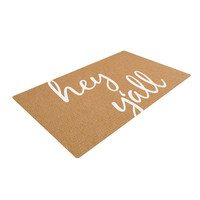 """KESS Original """"Hey Y'all - White"""" White Brown Woven Area Rug"""