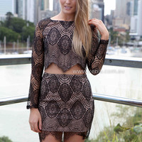 ORCHARD LACE SET , DRESSES, TOPS, BOTTOMS, JACKETS & JUMPERS, ACCESSORIES, 50% OFF , PRE ORDER, NEW ARRIVALS, PLAYSUIT, COLOUR, GIFT VOUCHER,,SKIRTS,Print,LACE,Black,LONG SLEEVES,MINI Australia, Queensland, Brisbane