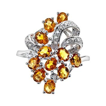 Sterling Silver Citrine & Diamond Accent Ring (Orange)