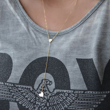 Heart Lariat Necklace, Gold Heart Necklace, Gold Initial Necklace, Y Necklace