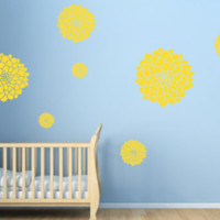Set of 24 Dahlia Flower Vinyl Wall Decals