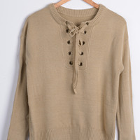 Cupshe Kiss Cross Lace Up Sweater
