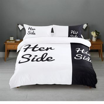Cool Black&white Her Side His Side Bedding sets Queen/King Size Double bed 2/3pcs/4pcs Bed Linen Couples Duvet Cover SetAT_93_12