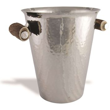 Steel Ice Bucket with Antler Handles