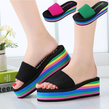 Designer Wedges Slippers Women Platform Sandals Wedge Slippers Slides Rainbow Summer T