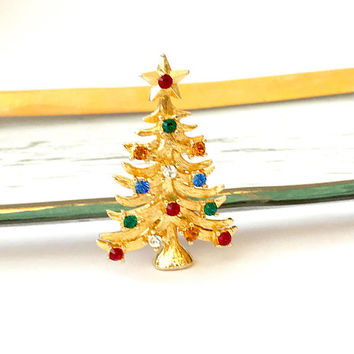 Eisenberg Ice Christmas Tree Pin, Multi Color, Jewel Tone Rhinestone, Textured Gold Plated, Collectible, Signed Eisenberg Ice, Vintage 1970s