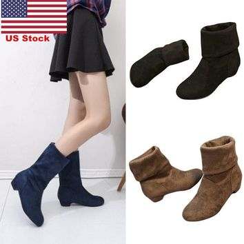 US Womens Low Heel Stretch Faux Suede Ladies Pull On Ankle Boots Pixie Fashion