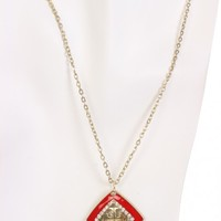 Red Square Pendent Slender Chain Necklace