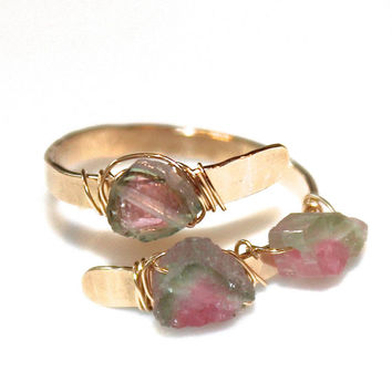 Rustic Watermelon Tourmaline Ring Tourmaline Ring Gold Ring Adjustable Ring Watermelon Tourmaline Slice Tourmaline Jewelry Delicate Ring