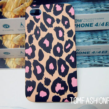 Leopard print coloured drawing or pattern iphone 5 case iphone 4 iphone 4s case