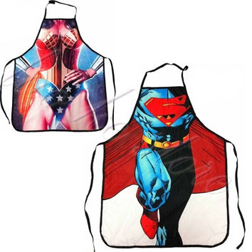 2pc superman wonder woman COOKING APRON Novelty Funny SEXY women men cosplay BBQ = 1945966340