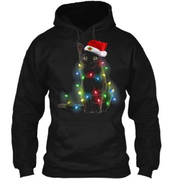 Cat Christmas Cute Black Cat Fairy Lights Funny  Pullover Hoodie 8 oz