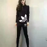 "Fashion ""Adidas"" Hooded Zipper Tops Pants Trousers Set Two-Piece"